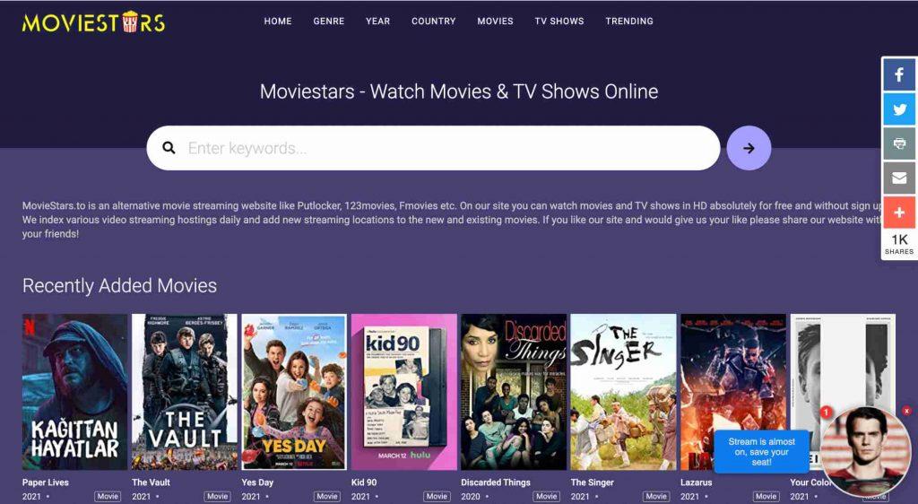 Moviestars, best free online movie streaming sites